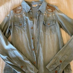 Miss Me Beaded Denim Button Up